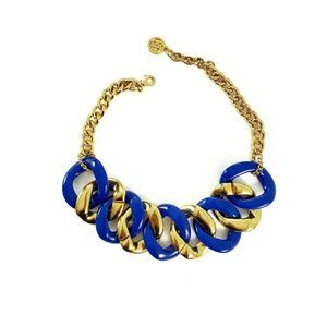 Chunky Gold & Bold Blue Link Statement Necklace